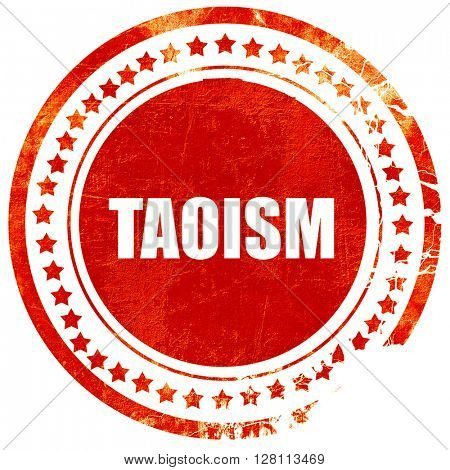taoism, red grunge stamp on solid background