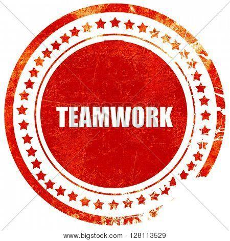 teamwork, red grunge stamp on solid background