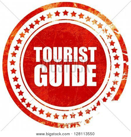 tourist guide, red grunge stamp on solid background