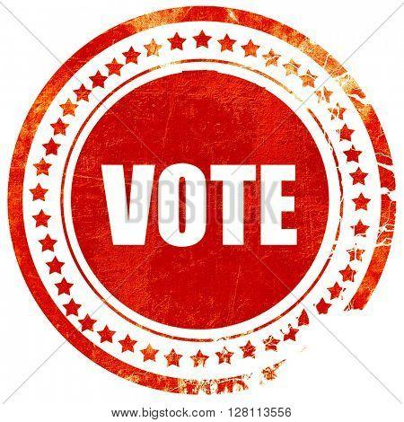 vote, red grunge stamp on solid background