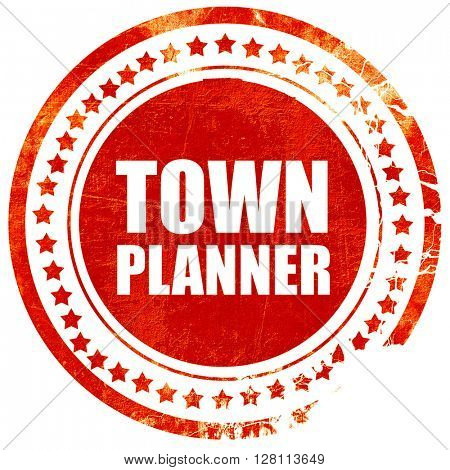 townplanner, red grunge stamp on solid background