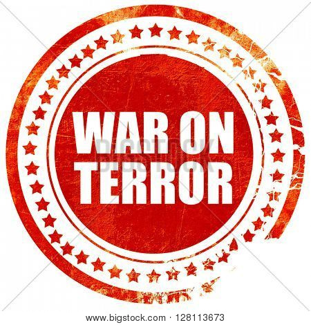 war on terror, red grunge stamp on solid background