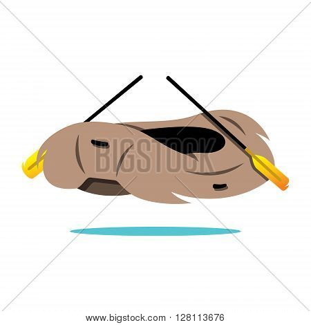 Illustration of inflatable boat with oars Isolated on a White Background