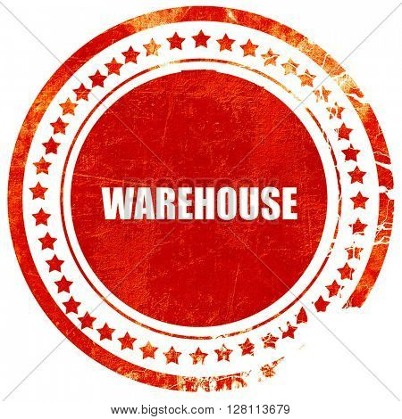 warehouse, red grunge stamp on solid background