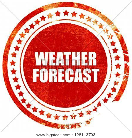 weather forecast, red grunge stamp on solid background
