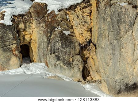 Grotto in the rocks. Beautiful winter landscape in the Lake Baikal.