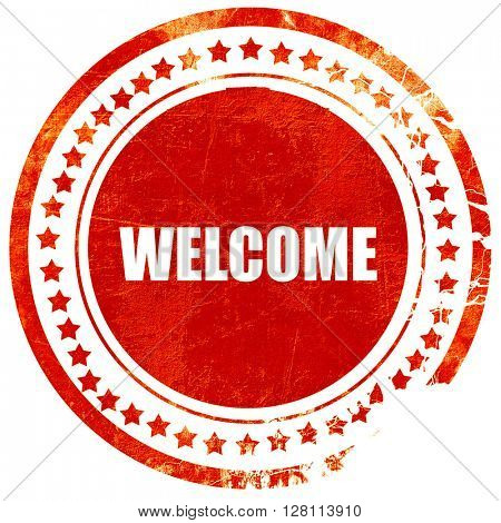 welcome, red grunge stamp on solid background