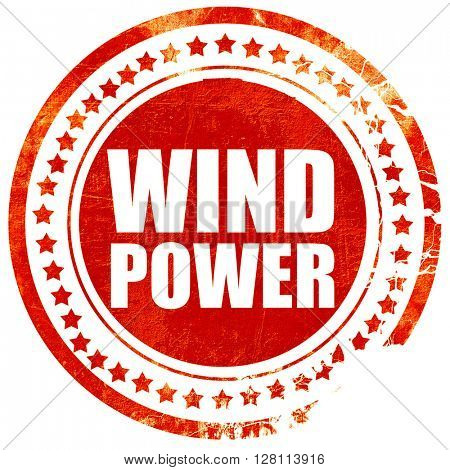 wind power, red grunge stamp on solid background