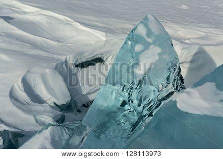 Huge blocks of ice. Beautiful winter landscape in the Lake Baikal.