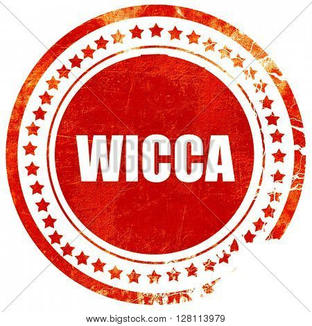 wicca, red grunge stamp on solid background