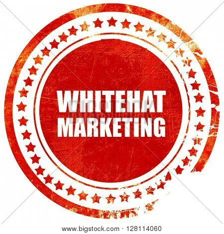 whitehat marketing, red grunge stamp on solid background