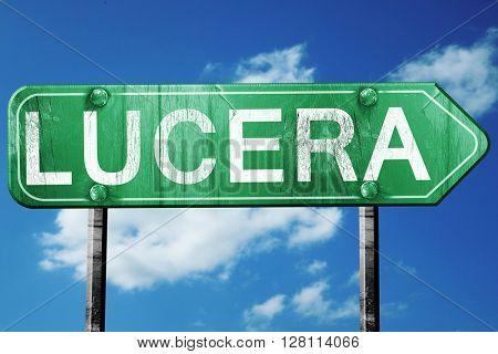 Lucera road sign, 3D rendering, vintage green with clouds backgr
