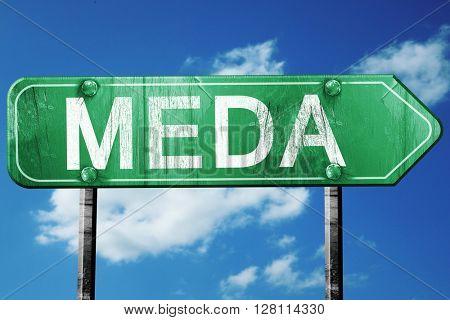 Meda road sign, 3D rendering, vintage green with clouds backgrou