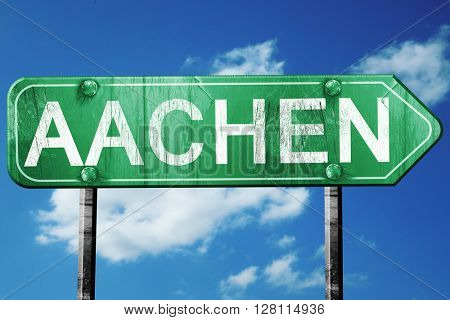 Aachen road sign, 3D rendering, vintage green with clouds backgr