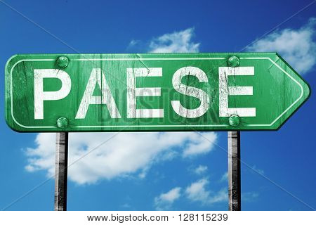 Paese road sign, 3D rendering, vintage green with clouds backgro