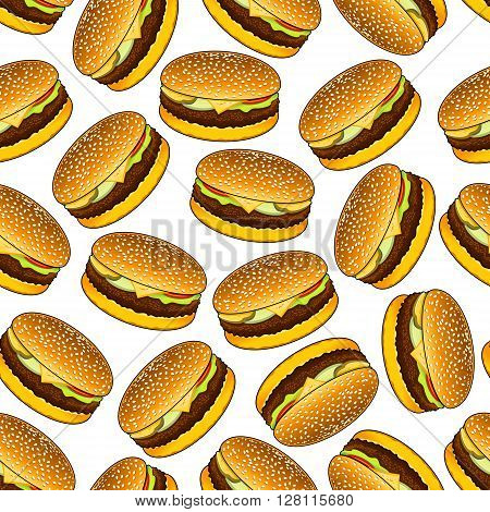Seamless homemade hamburgers on bread rolls with sesame seeds pattern on white background garnished with beef patty, cheese, fresh tomato, onion and pickled cucumber relishes. Fast food sandwiches backdrop for cafe menu or kitchen interior design