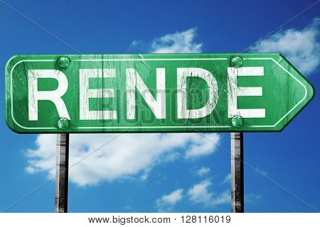 Rende road sign, 3D rendering, vintage green with clouds backgro