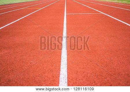 Running track in the stadium in day light