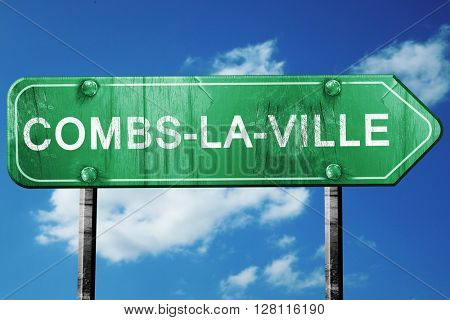 combs-la-ville road sign, 3D rendering, vintage green with cloud