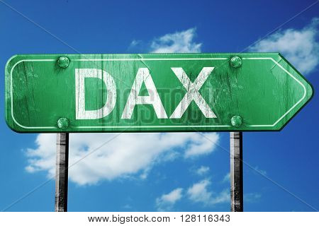 dax road sign, 3D rendering, vintage green with clouds backgroun