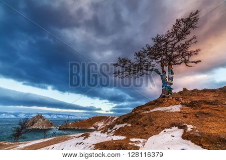 Winter Baikal lake landscape on Olkhon island