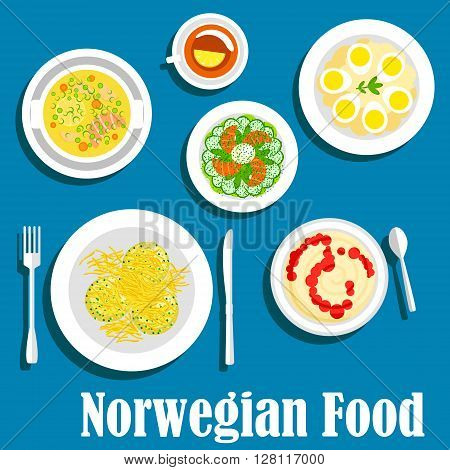 Wholesome dishes of norwegian breakfast icon with flat symbols of rice porridge with fruit jam, cucumber salad with smoked salmon, fish soup, potato and egg salad, parsnip pancakes with cheese and cup of tea with lemon