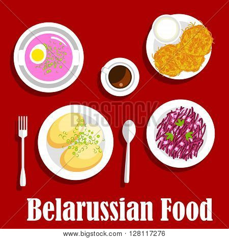 Vegetarian dinner with national belarusian dishes icon with flat symbols of potato pancakes draniki, served with sour cream, cold beet soup with hard boiled egg, potato with butter sauce, red cabbage and apple salad, cup of coffee