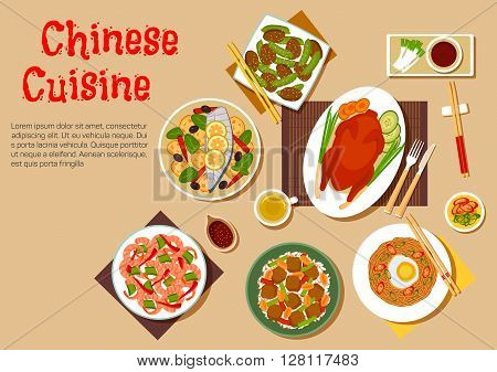 Chinese peking duck flat icon served with soybean noodles, topped with egg, rice with fried tofu and peanuts, spicy prawns, steamed fish with lemon and vegetables, fried pork with green beans and variety of sauces