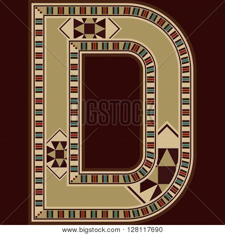 Oriental Wooden Mosaic Decorated Capital Letter D