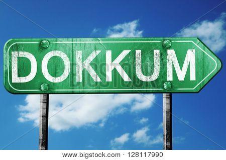 Dokkum road sign, 3D rendering, vintage green with clouds backgr