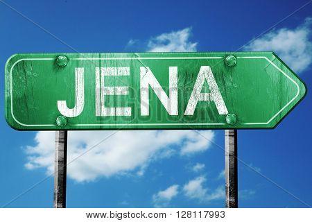 Jena road sign, 3D rendering, vintage green with clouds backgrou