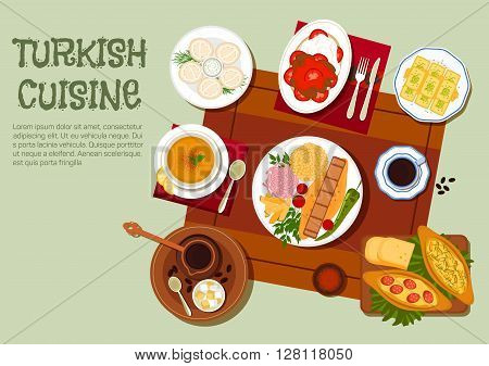 National dishes of turkish cuisine icon with traditional adana and iskender kebabs platters with vegetables, yogurt and bulgur pilaf, pide pies, lentil soup, dumplings with sour cream, turkish coffee with lokum, and walnut baklava. Flat style