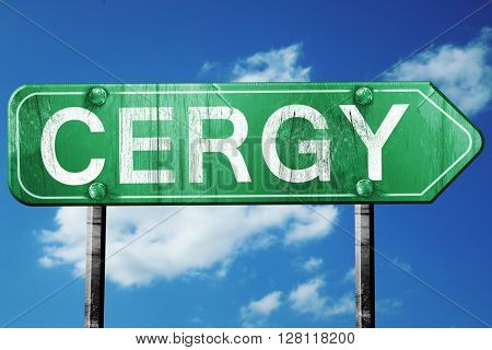cergy road sign, 3D rendering, vintage green with clouds backgro