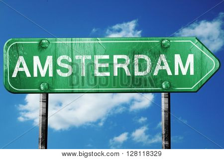 Amsterdam road sign, 3D rendering, vintage green with clouds bac