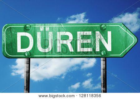 duren road sign, 3D rendering, vintage green with clouds backgro