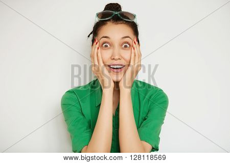 Human Face Expression And Emotions. Headshot Of Young Shocked Female Student Looking At The Camera,
