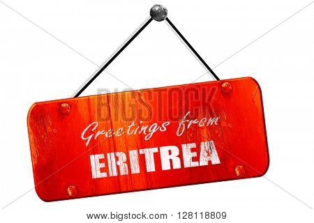 Greetings from eritrea, 3D rendering, vintage old red sign