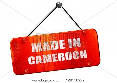 Made in cameroon, 3D rendering, vintage old red sign