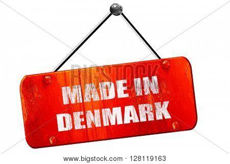 Made in denmark, 3D rendering, vintage old red sign