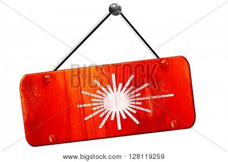 Laser warning sign, 3D rendering, vintage old red sign