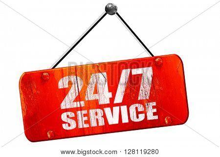 24/7 service, 3D rendering, vintage old red sign