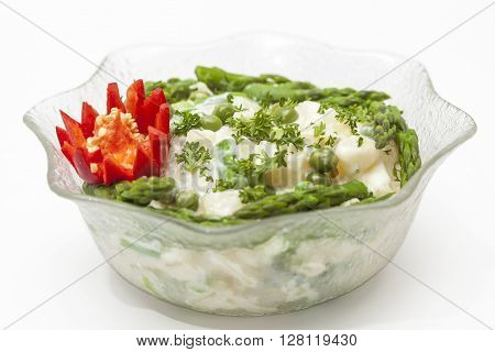 Potato salad preparation Potato salad on a glass bowl
