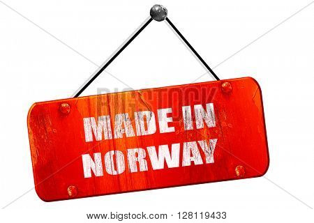 Made in norway, 3D rendering, vintage old red sign