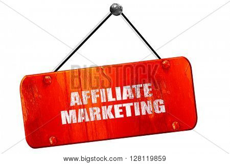 affiliate marketing, 3D rendering, vintage old red sign