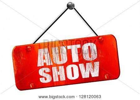 auto show, 3D rendering, vintage old red sign