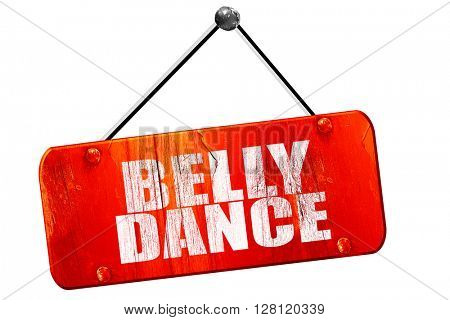 belly dance, 3D rendering, vintage old red sign