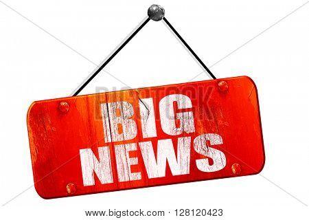 big news, 3D rendering, vintage old red sign