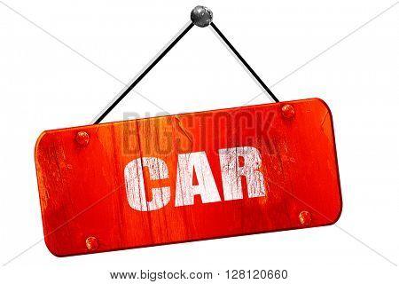 car, 3D rendering, vintage old red sign