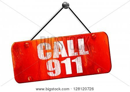 call 911, 3D rendering, vintage old red sign