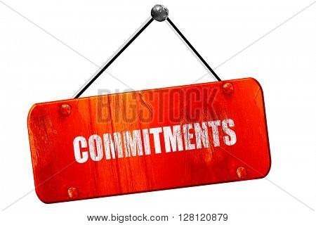 commitments, 3D rendering, vintage old red sign